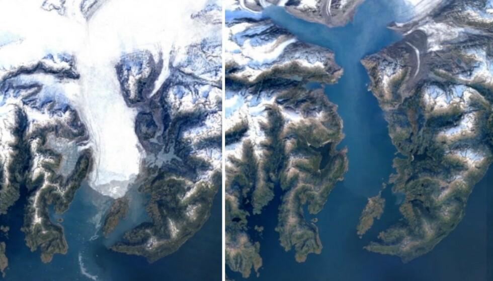SMELTER: Bildene viser hvordan en isbre kan se ut etter den har smeltet. Foto: Google Earth Timelapse.
