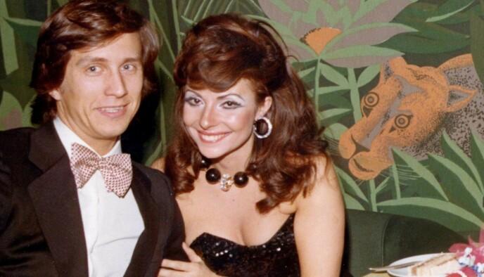 DREPT: Mauritzio Gucci (t.v) ble skutt og drept av en leiemorder i 1995. Eks-kona Patrizia Reggiani skal ha orkestrert drapet. Her er paret avbildet sammen i 1972. Foto: NTB