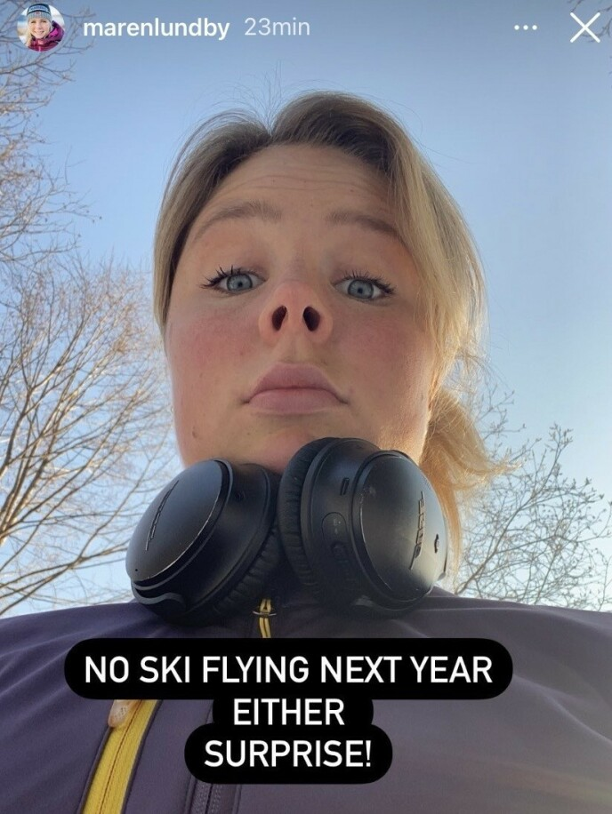 SKUFFET: Maren Lundby har lagt ut denne meldingen på sosiale medier. Foto: Instagram