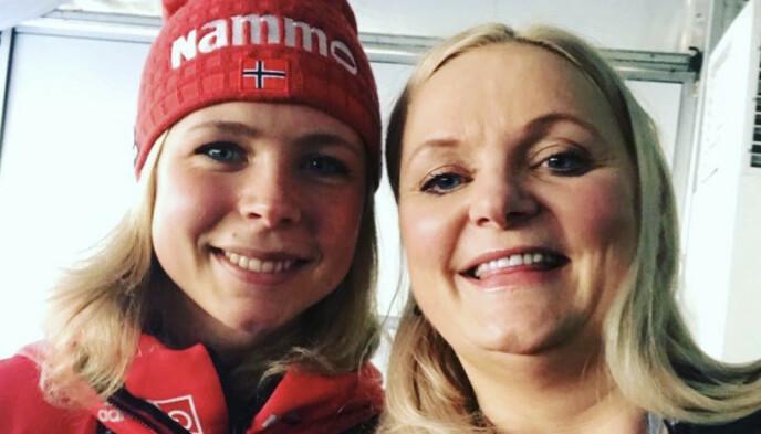 REAGERER: Senterparti-politiker Åslaug Sem-Jacobsen møtte Maren Lundby sammen med familie- og kulturkomiteen for noen år siden. Hun reagerer på at jentene ikke slipper til i skiflygingsbakken. Foto: Privat