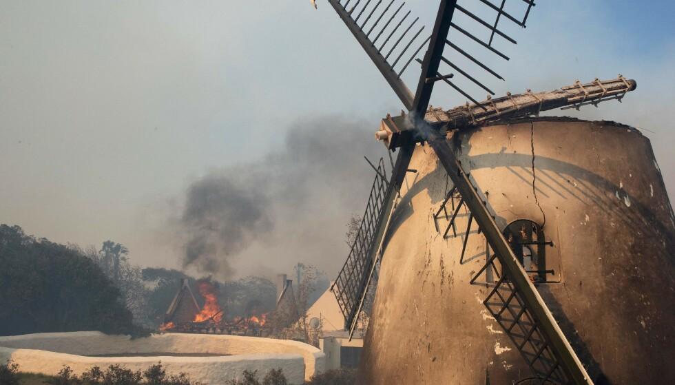 HISTORISKE BYGG: Den historiske vindmølla rett ved universitetet i Cape Town, som ble bygget i 1796, har tatt skade av flammene. Foto: Rodger Bosch/AFP/NTB.
