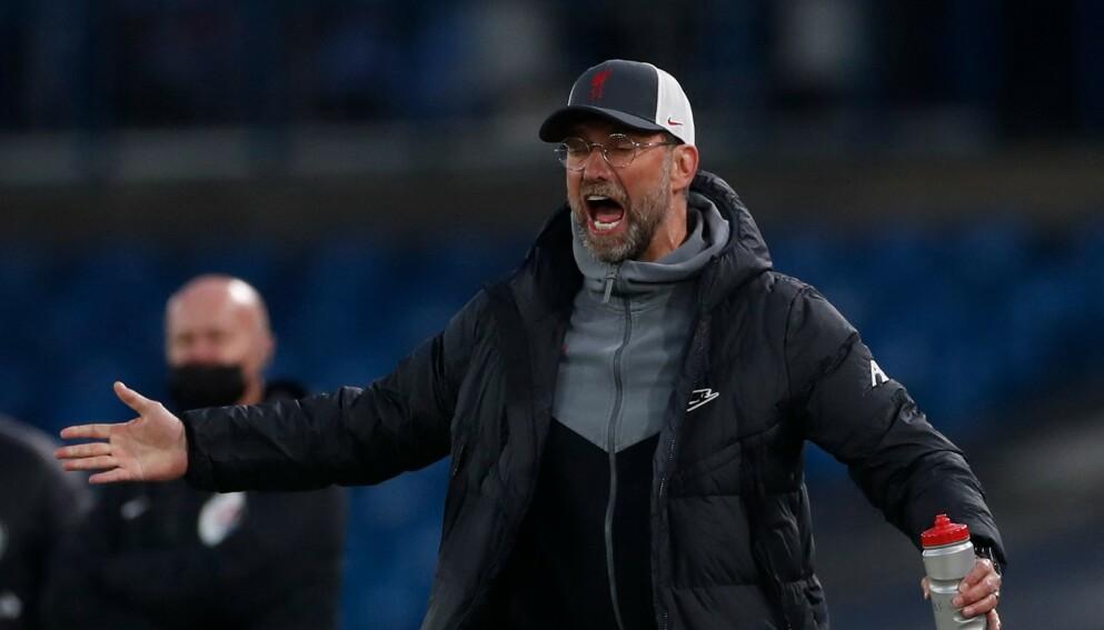 IRRITERT: Liverpool-manager Jürgen Klopp var tydelig irritert etter kampen mot Leeds. Foto: LEE SMITH / POOL / AFP