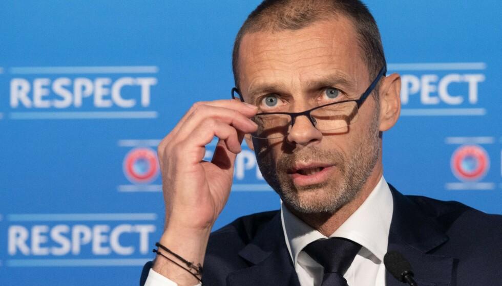 KRITIKK: UEFA-sjef Aleksander Ceferin får stryk fra Florentino Pérez. Foto: AFP PHOTO /UEFA/RICHARD JUILLIART.