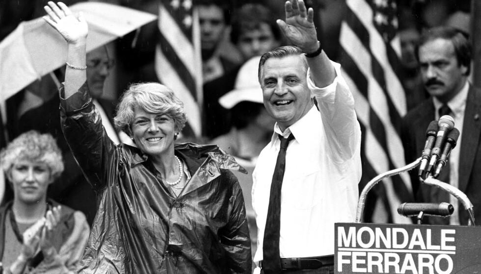STILTE TIL VALG: Walter Mondale var demokratenes presidentkandidat i 1984. Her sammen med daværende visepresidentkandidat Geraldine Ferraro. Foto: AP Photo/Jack Smith, File