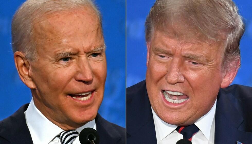 ANKLAGER: USAs forrige president, Donald Trump, mener USAs nåværende president, Joe Biden, er ansvarlig for ett av de største nederlagene i amerikansk historie. Foto: JIM WATSON og SAUL LOEB / AFP