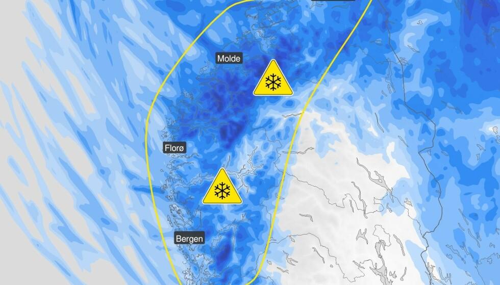 FAREVARSEL: Vestland, Møre og Romsdal og Trøndelag får snø fra onsdag. Illustrasjon: Meteorologisk institutt.