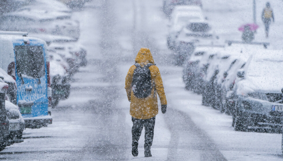 VENDER TILBAKE: Slik så det ut på Disen i Oslo mandag i forrige uke. Lavere temperaturer kan by på nok en runde med snø flere steder. Foto: Håkon Mosvold Larsen / NTB