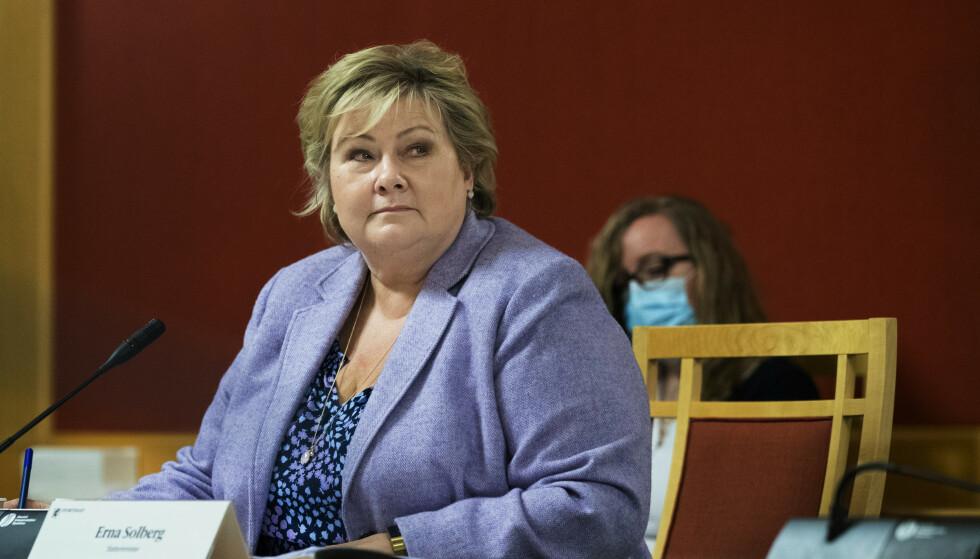 BERGEN ENGINES: Statsminister Erna Solberg i åpen høring i Stortinget om det avlyste salget av Bergen Engines. Foto: Berit Roald / NTB