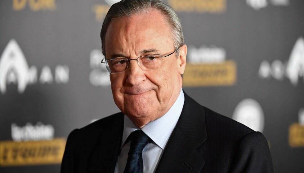 KRITISERES: Super League-sjef Florentino Pérez har måttet tåle sterk kritikk. Foto: FRANCK FIFE / AFP