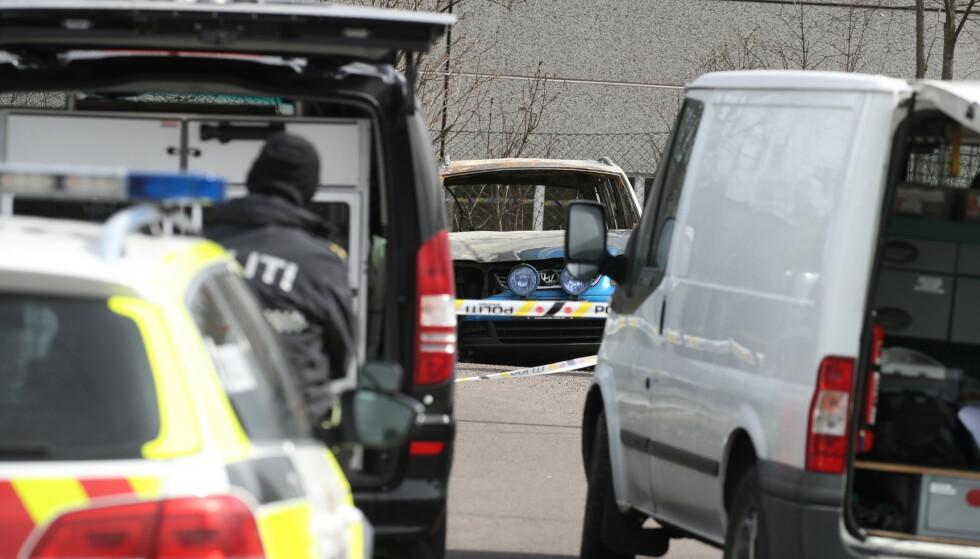 UTBRENT: Politiet så først på en mulig sammenheng mellom drapet og en bilbrann på Sem i Tønsberg, men har seinere gått over til å etterforske det som to separate saker. Foto: Bjørn Langsem / Dagbladet
