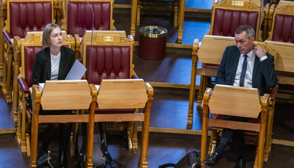 SISTE ORD: Næringsminister Iselin Nybø (V) skjønte at ansettelsen av forsvarsminister Frank Bakke-Jensen (H) som fiskeridirektør ville bli kontroversiell. Derfor gjennomførte hun selv det siste og avgjørende jobbintervjuet. Foto: Håkon Mosvold Larsen / NTB