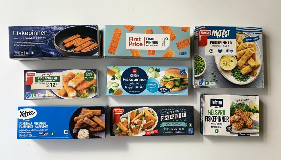 FISKEPINNER: Supert å ha på lur i fryseren, enkelt å lage. Men hvilken skal du velge?