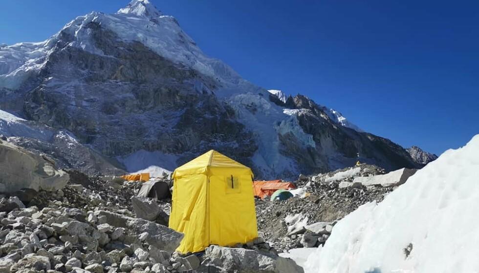 BASECAMP: Den siste dagen i Everest Basecamp, skrev Ness på Facebook 16. april. Foto: Privat