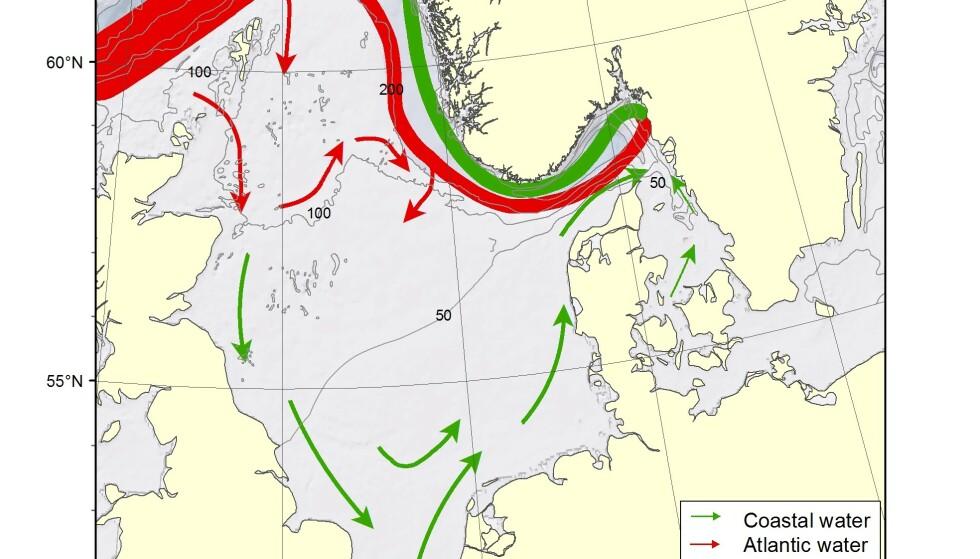 MULIG FORKLARING: Kartet viser hvordan havstrømmene Nordsjøen og Skagerrak kan frakte gjenstander fra Sylt til sørlandskysten. Kart: Lars-Johan Naustvoll / Havforskningsinstituttet