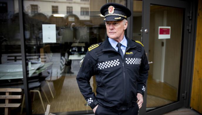 TALSMANN: Stasjonssjef Øystein Holt ved Tønsberg politistasjon er politiets stemme utad i drapssaken. Foto: Bjørn Langsem / Dagbladet