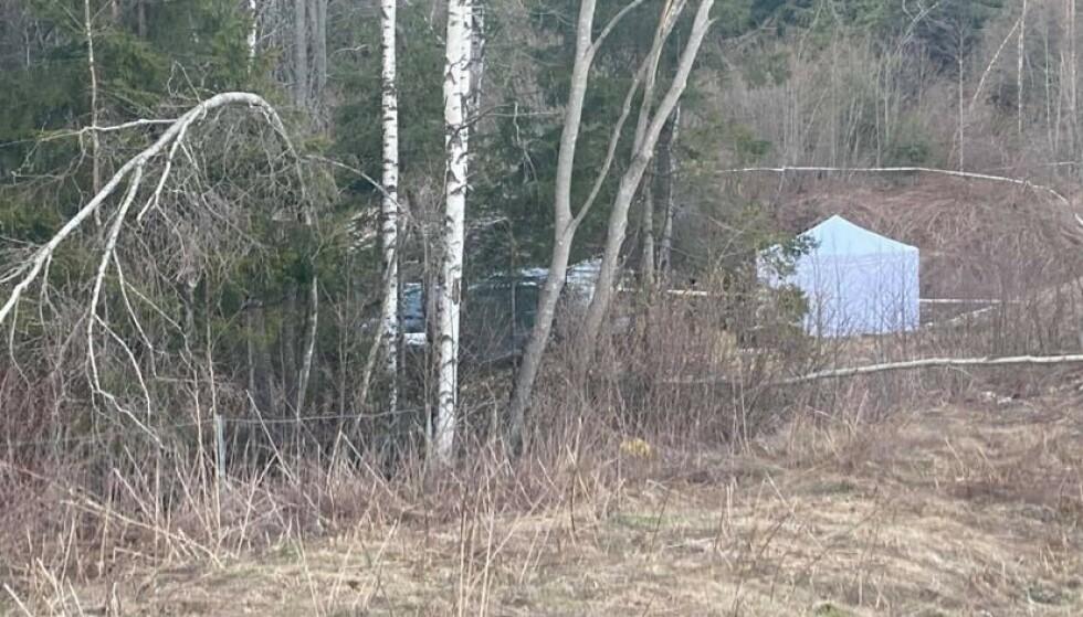 SPERRET AV: Politiet har sperret av et område på Tranby i Lier etter funn av beinrester. Foto: Julie Brix Røed