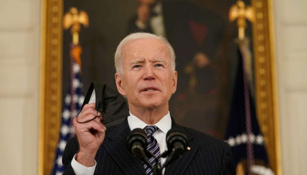 DEN FØRSTE: Joe Biden er den første amerikanske presidenten som kaller massedødsfallene blant armenerne i perioden 1915-1920 for folkemord. Foto: Kevin Lamarque / Reuters / NTB