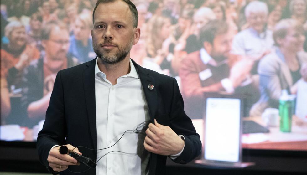 Hamar 20210423.  Partileder Audun Lysbakken under landsmøtet til SV på Hamar fredag. Foto: Terje Pedersen / NTB