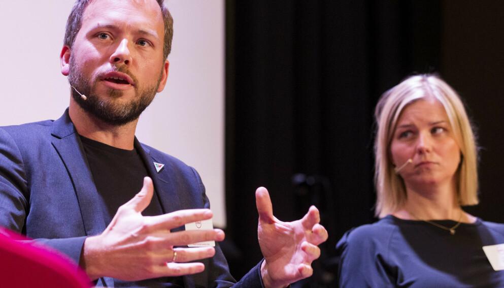 LANDSMØTER: Partileder i SV, Audun Lysbakken, og partileder i Venstre, Guri Melby, ledet hvert sitt landsmøte denne helga. Foto: Håkon Mosvold Larsen / NTB
