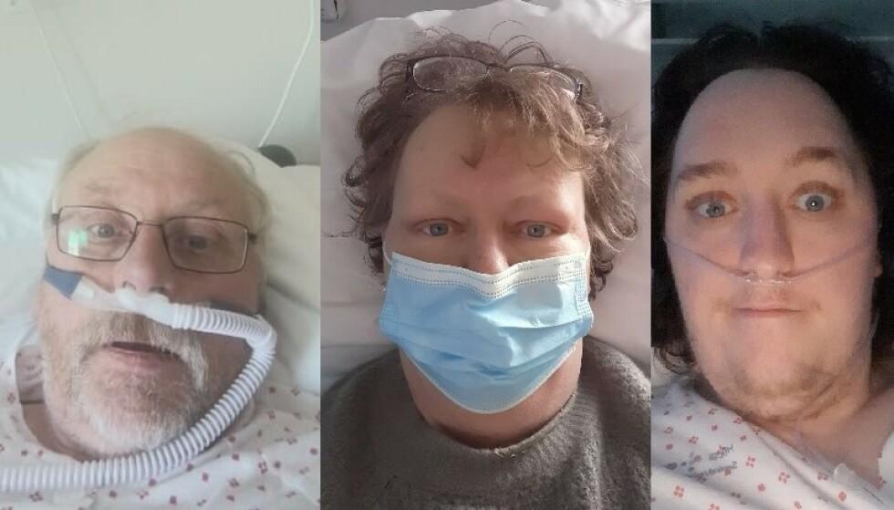 BLE INNLAGT: Hans Thoresen (t.v.), Tove Anette og Simen ble innlagt på sykehus med corona. Foto: Privat