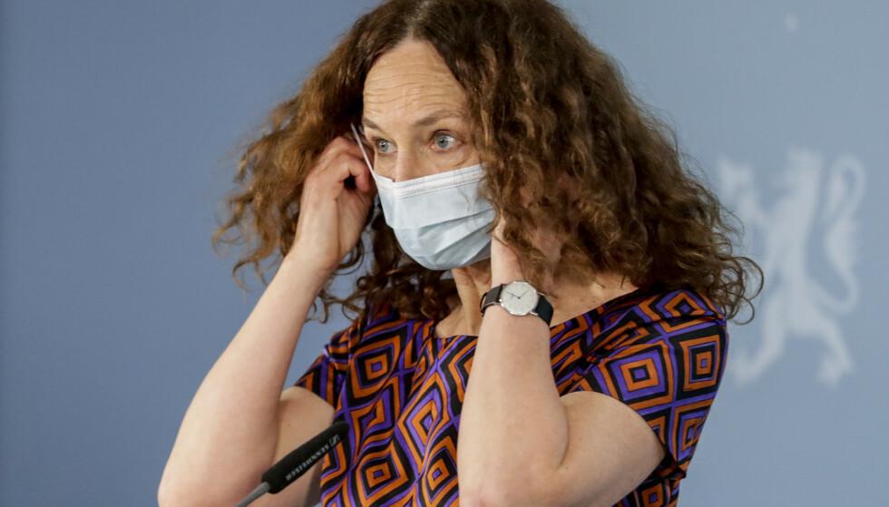 FHI-DOKUMENT MISBRUKES: Direktør i Folkehelseinstituttet, Camilla Stoltenberg, under pressekonferanse om coronasituasjonen. Foto: Berit Roald / NTB
