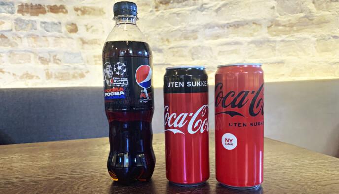 PÅ TESTBENKEN: Pepsi Max, gammel Coca-Cola uten sukker, ny Coca-Cola uten sukker.