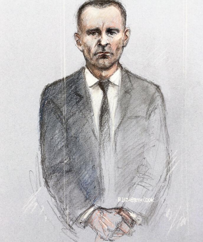 I RETTEN: Tegningen viser Ryan Giggs i retten i dag. Tegning: Elizabeth Cook / NTB