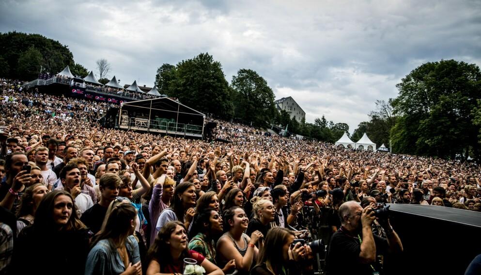 DET VAR EN GANG: Det var stor stemning blant publikum på Øyafestivalen i 2018, da Arcade Fire spilte på scenen Amfiet. Foto: Christian Roth Christensen / Dagbladet