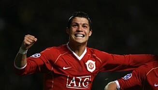 In vuur en vlam.  Ronaldo speelde geweldig voor United in de terugwedstrijd.  Foto: NTB