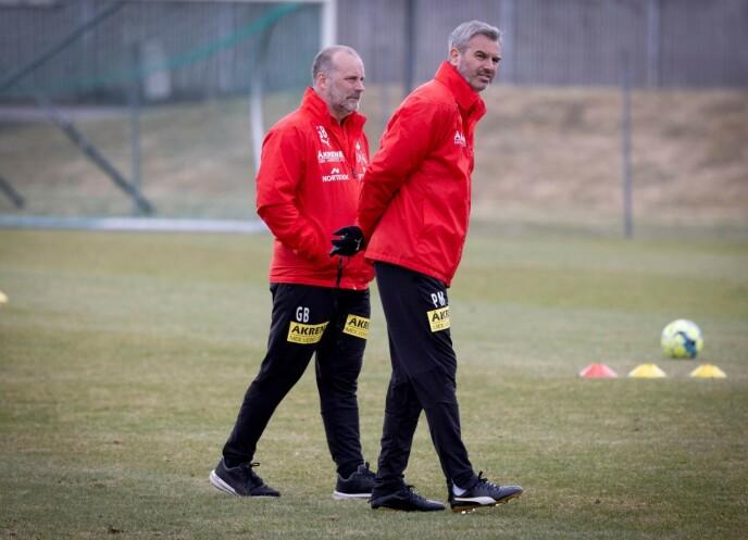 TRENERDUO: Geir Bakke (hovedtrener, til venstre) og assistentrener Petter Myhre satser på å etablere Lillestrøm i Eliteserien. Foto: Bjørn Langsem