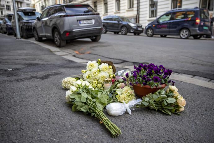 BLOMSTER OG LYS: Det er lagt ned lys og blomster der kvinnen ble skutt og drept. Foto: Bjørn Langsem / Dagbladet