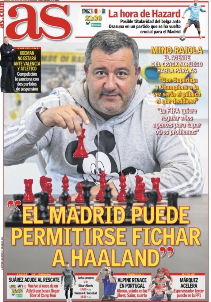 INTERVJU: En gemyttlig Mino Raiola stiller på førstesida av den spanske storavisa AS i dag.