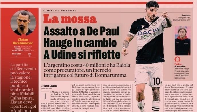 I OVERSKRIFTENE: Her er artikkelen som omfatter Jens Petter Hauge i dagens papirutgave av La Gazzetta dello Sport.