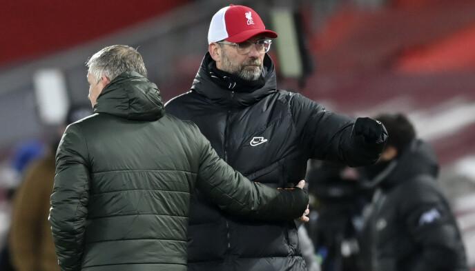 RESPEKT: Jürgen Klopp og Ole Gunnar Solskjær har det beste forholdet. Tyskeren og nordmannen omtaler hverandre med stor respekt. Foto: NTB
