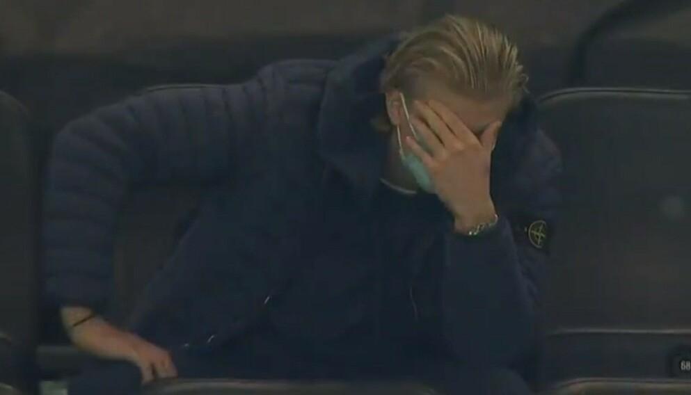 GRUFULLT: Erling Braut Haaland likte dårlig at lagkamerat Mateu Morey skadet seg under kampen i går.