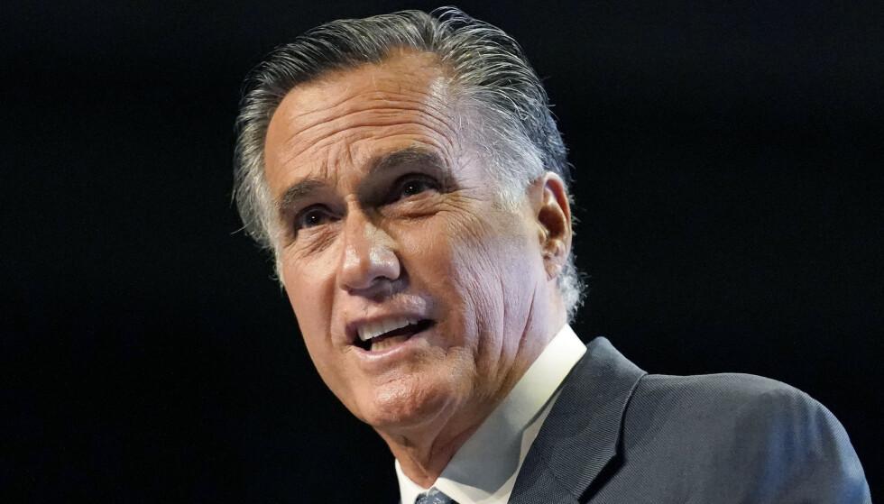 BUING: Mitt Romney ble møtt med buing under sin tale i helga. Foto: AP / Rick Bowmer / NTB