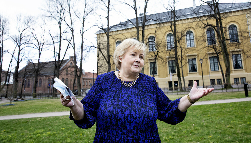 GRUNNLOVEN: Erna Solberg har ikke villet svare på Dagbladets spørsmål om hun visste at Grunnloven krever at beslutningen om nedstengningen av samfunnet måtte fattes i statsråd. Foto Kristin Svorte