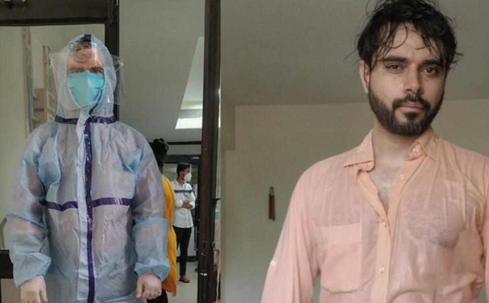 REPRESENTANT: Til Dagbladet sier den indiske legen Sohil Makwana at han tror bildene av ham med og uten smitteverndrakt har fått så mye oppmerksomhet, fordi han representerer helsearbeidere i hele verden. Foto: Privat