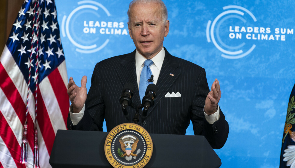 KLIMAMØTE: President Joe Biden talte på klimatoppmøtet Leaders Summit fra Det hvite hus. Foto: AP/NTB.