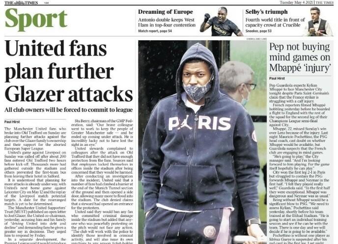 I OVERSKRIFTENE: Bråket på Old Trafford preger de engelske papiravisene i dag. - United-fansen planlegger ytterligere angrep på Glazer, skriver The Times.