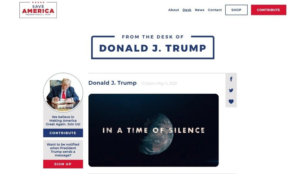 NY PLATTFORM: Dette er Donald Trumps nye nettsted. Foto: Skjermdump