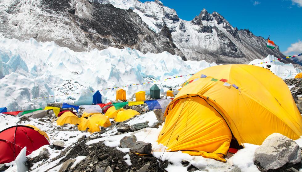 BASECAMP: Flere bekreftede tilfeller av corona har ført til frykt for et voldsomt utbrudd på Mount Everest. Foto: Shutterstock / NTB
