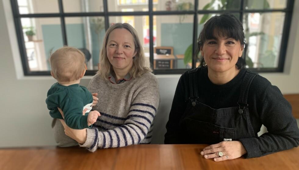 GRUNDERE: Laura Raubaite (med datter) og Andrea Marambio på Farine. Foto: Elisabeth Dalseg