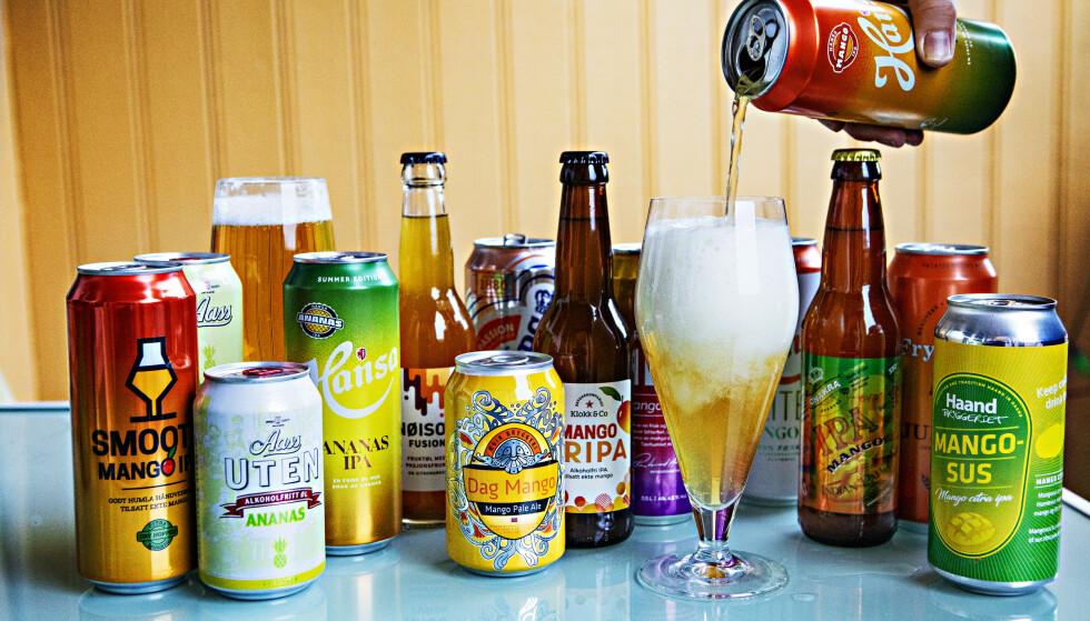 SOMMERFRISKT: Det er mye godt å velge mellom, om du vil ha litt tropisk preg på ølet i år.