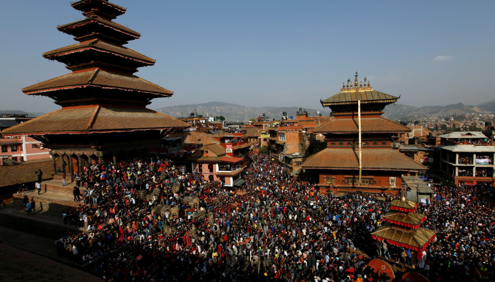 10. APRIL: Biska-festivalen i Bhaktapur, Nepal. Foto: REUTERS/Navesh Chitrakar / NTB