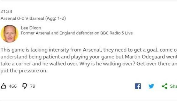 IKKE FORNØYD: Lee Dixon ga Martin Ødegaard det glatte lag. Foto: Faksimile / BBC