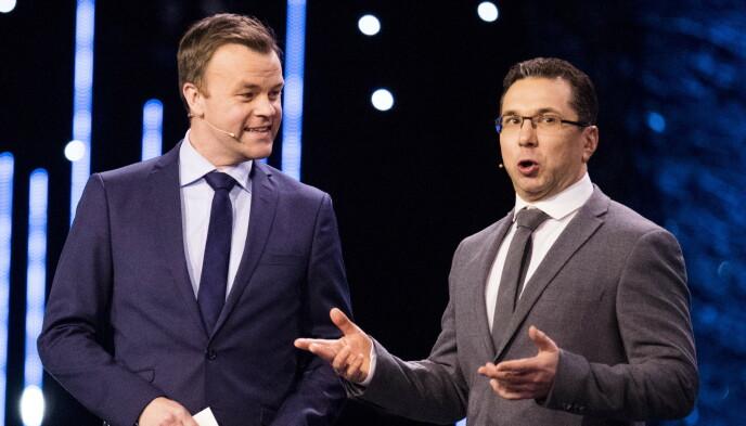 I VITNEBOKSEN: Ole Rolfsrud (t.v.) vitner for NRK under rettssaken. Her med sjakkmanager Kyrillos Zangalis under Idrettsgallaen 2017. Foto: Jon Olav Nesvold / NTB