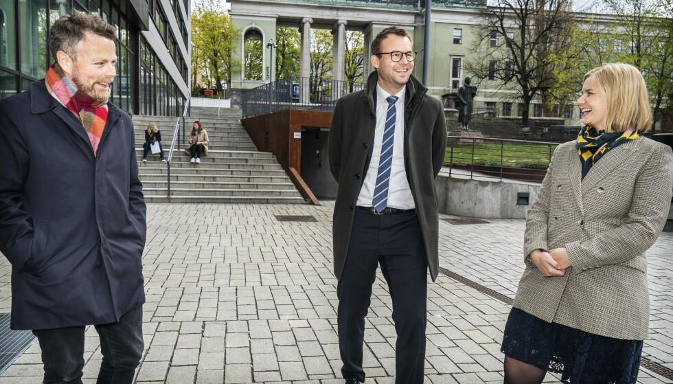 STOLTE: Torbjørn Røe Isaksen , Kjell Ingolf Ropstad, Guri Melby er stolte over det regjeringen har fått til på regjeringens likeverdsreform. Nå lover de ytterligere VTA-plasser. Foto: Hans Arne Vedlog/ Dagbladet