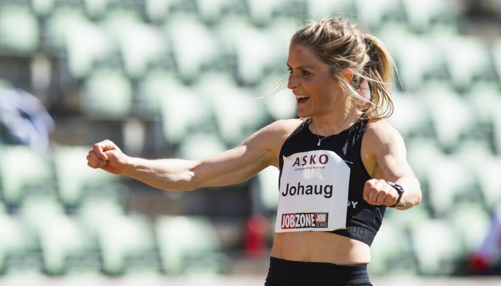 PERSONLIG REKORD: Therese Johaug med personlig rekord på Bislett stadion. Foto: Fredrik Varfjell / NTB