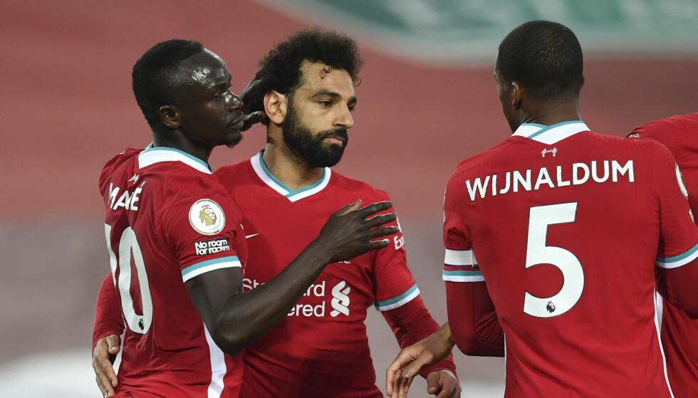 SENT, MEN GODT: For første gang denne sesongen kombinert Sadio Mané og Mohamed Salah for scoring i Premier League. Foto: Paul Ellis/Pool via AP.
